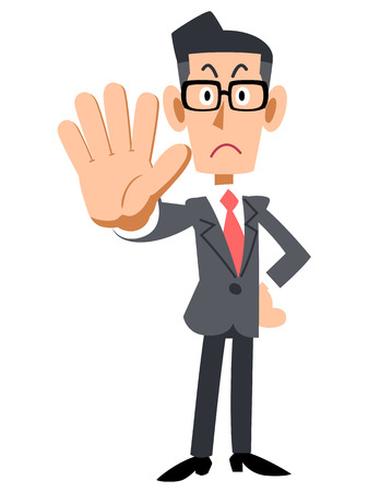 businessman with glasses to stop