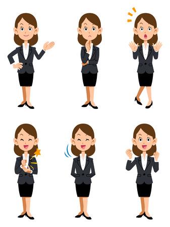 As mulheres que trabalham no escritório, seis tipos de gestos e expressões faciais Ilustração