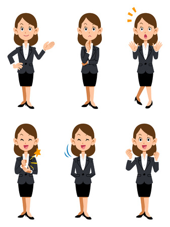 introduction: Women working in the office, six kinds of gestures and facial expressions