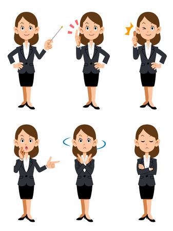 オフィスでは、6 種類のジェスチャーや表情の働く女性