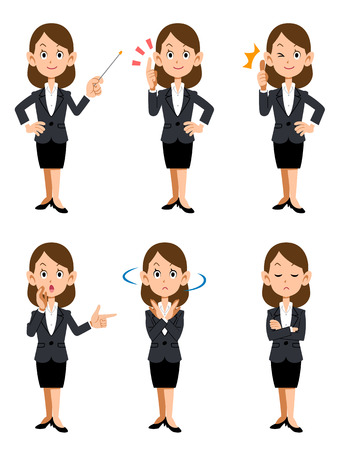 job descriptions: Women working in the office, six kinds of gestures and facial expressions