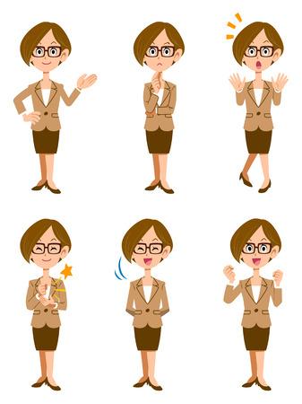 Vrouwen werken in het kantoor, zes soorten van gebaren en gezichtsuitdrukkingen