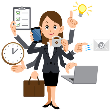 use computer: Businesswoman to do a multi-tasking