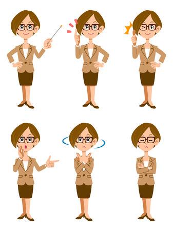 Le donne che lavorano in ufficio, sei tipi di gesti ed espressioni facciali Archivio Fotografico - 39808803