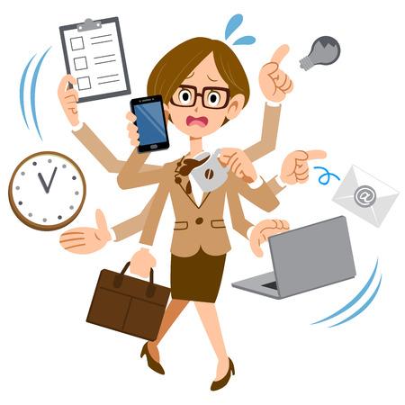 empleados trabajando: Las mujeres que usan gafas para trabajar en ocupado demasiado empresa