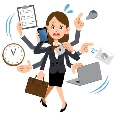 Women working in busy too company Vector