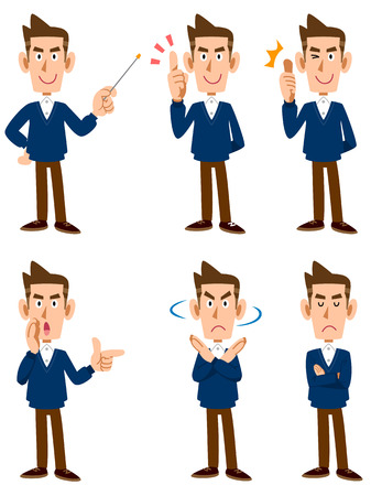 facial gestures: Sweater men six types of facial expressions and gestures Illustration