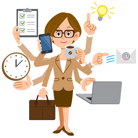 smart woman: Businesswoman multiplied by the glasses do a multitasking