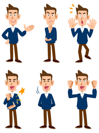 cartoon human: Sweater men six types of facial expressions and gestures Illustration