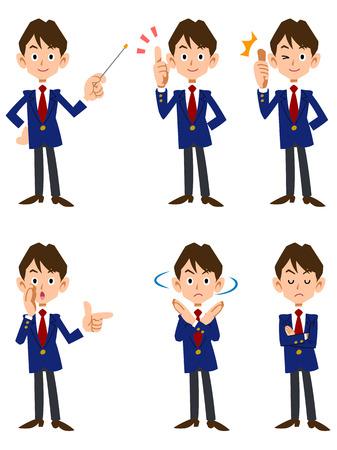 ポーズや表情の男子学生 6 種類