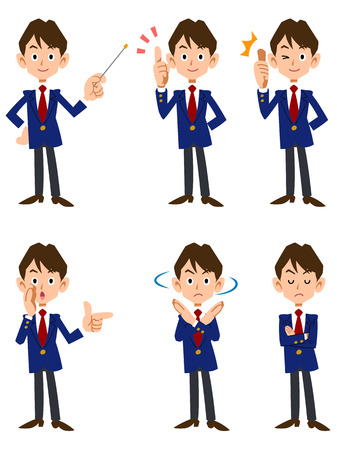 Male students six types of poses and facial expressions