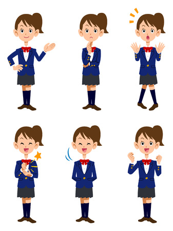 junior: Female students and 6 different poses and facial expressions