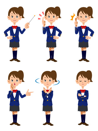 Female students and 6 different poses and facial expressions Vector