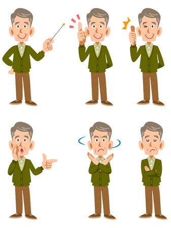 satirical: An old man Cardigan and 6 types of facial expressions and gestures