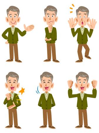 老人カーディガンと 6 種類の顔の表情やジェスチャー