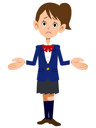 schoolgirls: Schoolgirls in uniform amazed