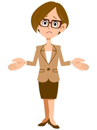 驚かれる実業家女性  イラスト・ベクター素材
