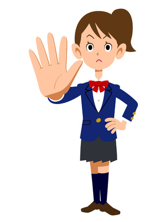 warning against a white background: Gestures stop uniform of female college students