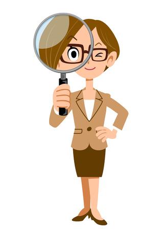 Frauen, die unter der Lupe in der Firma arbeiten Standard-Bild - 40854973