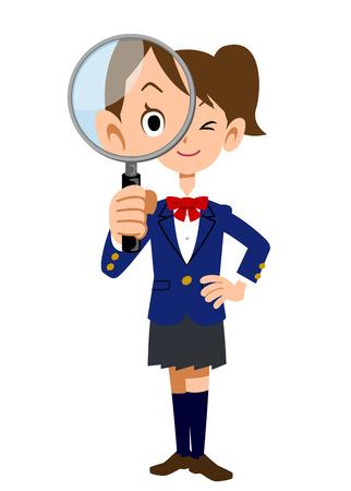 vigilance: Female students under the magnifying glass Illustration