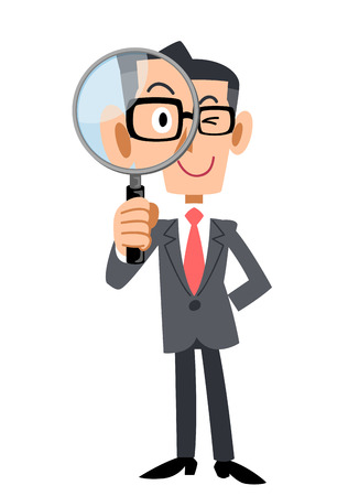 Businessmen under the magnifying glass