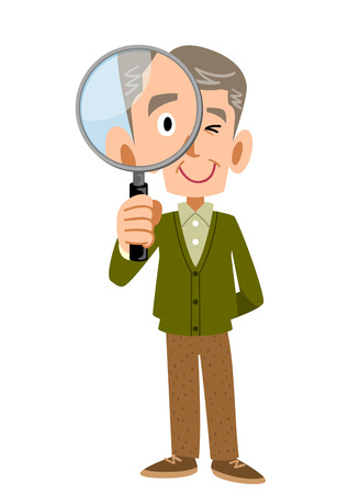 satirical: An old man under the magnifying glass