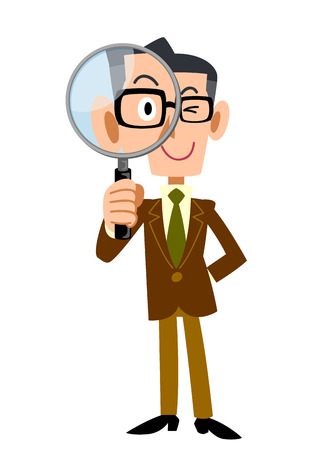 watchful: Men jacket Brown under the magnifying glass Illustration