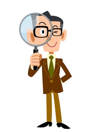 vigilance: Men jacket Brown under the magnifying glass Illustration