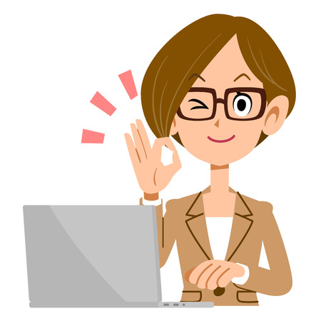 acknowledgment: Woman glasses shows a hand sign of acknowledgment in front of a laptop