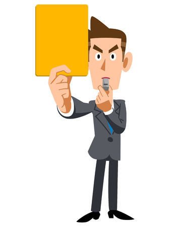 Businessman showing yellow cards Illustration