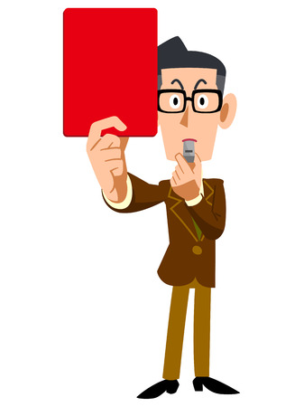satirical: Indicates the Red glasses and brown jacket men Illustration