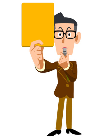 provisions: Man wearing glasses showing yellow cards and brown jacket