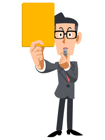 satirical: Businessman glasses shown yellow cards