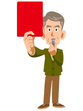 vecchiaia: Gli uomini più anziani mostrano il cartellino rosso Vettoriali