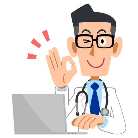 bata blanca: Doctor de sexo masculino que da la muestra ACEPTABLE con portátil