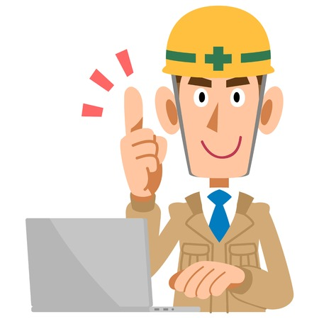 explain: Construction workers to explain the point man with laptop