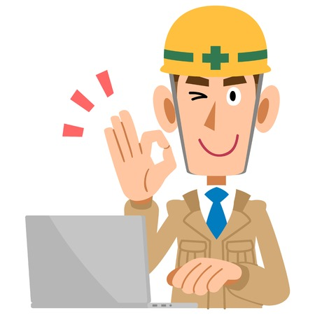constructions: Construction workers put the OK sign men and laptop Illustration