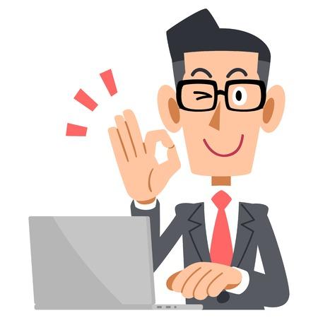 メガネ OK の標識とラップトップを示す実業家