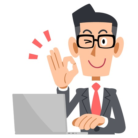 Businessman showing OK sign glasses and laptop Çizim