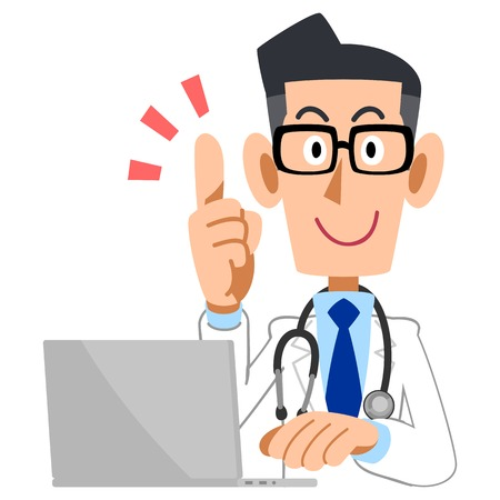 Male doctor raised his index finger and a laptop Иллюстрация