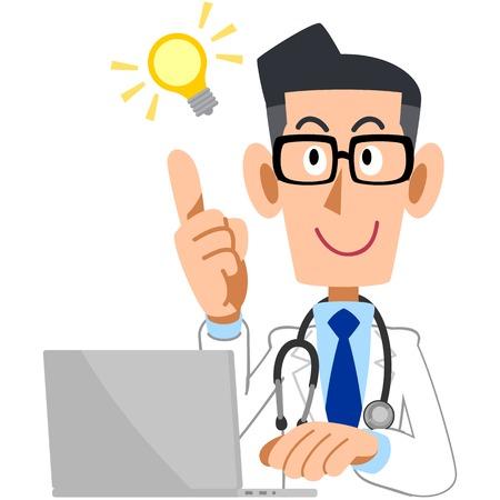 男性医師が点滅、アイディアとパソコン  イラスト・ベクター素材