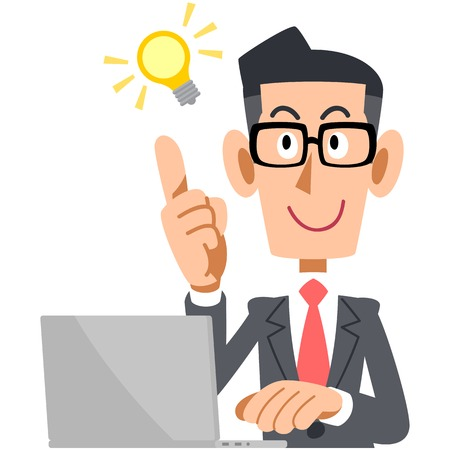 Businessman showing OK sign glasses and laptop 일러스트