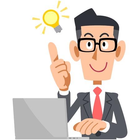Businessman showing OK sign glasses and laptop Illusztráció