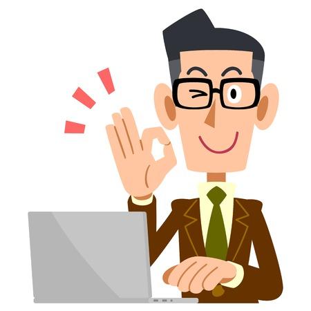 확인 기호 갈색 재킷과 노트북 컴퓨터를 게재하는 안경을 착용하는 사람 일러스트
