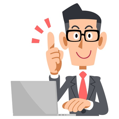 satirical: Businessman glasses raised his index finger and a laptop