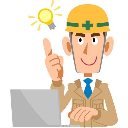 flashes: Construction worker flashes idea  Illustration