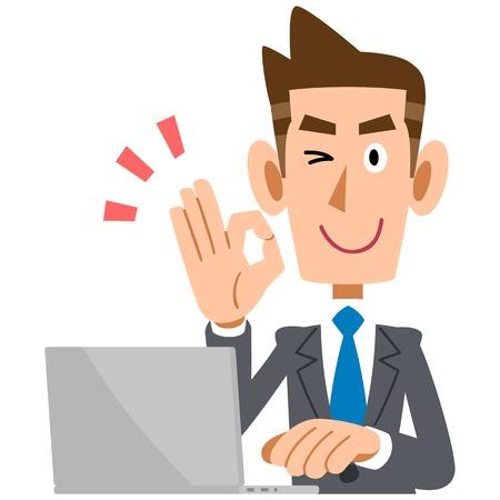 ノート パソコンを持つビジネスマン表示 [ok] 記号