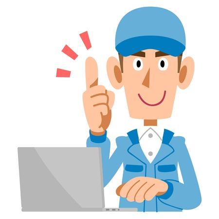 Man raised his index finger at work  Illustration