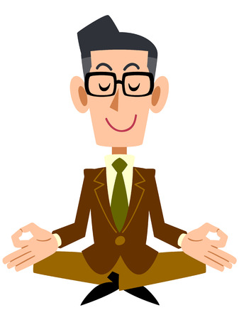 sit down: Man with brown jacket and glasses meditating  Illustration