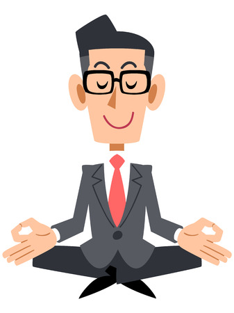 settle: Businessman with coat and glasses meditating  Illustration